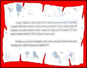 Arasement digue sud de Varesnes demandé pour le 30 septembre 2015 !!!