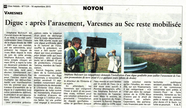 Oise hebdo 1609 Digue Varesnes et nouvelles actions Oise Picardie